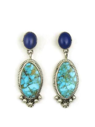 Kingman Turquoise & Lapis Earrings by Geneva Apachito