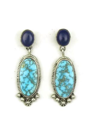 Kingman Turquoise & Lapis Earrings by Geneva Apachito (ER3928)