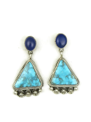 Kingman Turquoise & Lapis Earrings by Geneva Apachito (ER3929)
