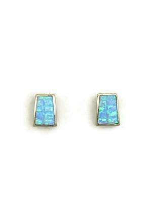 Blue Opal Inlay Post Earrings