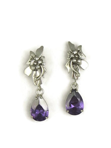 Amethyst Silver Flower Earrings by Les Baker Jewelry