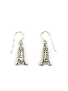 Silver Stamped Squash Blossom Earrings