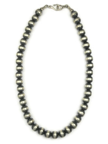 """Antiqued Sterling Silver 10mm Bead Necklace 18"""""""