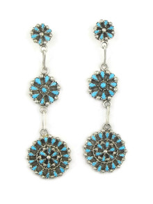 Turquoise Petit Point Triple Cluster Earrings by Zuni Tricia Leekity