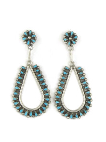 Turquoise Petit Point Loop Earrings by Zuni Tricia Leekity