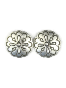 Hand Stamped Silver Concho Earrings by Fritson Toledo