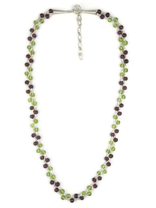 Garnet & Peridot Liquid Silver Necklace