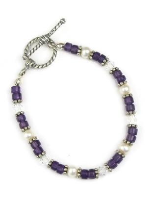 Amethyst & Pearl Bead Bracelet