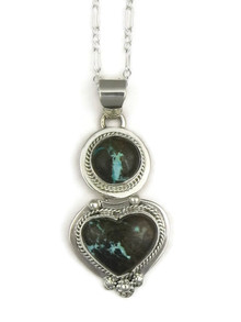 Royston Boulder Turquoise Heart Pendant by Lucy Valencia (PD3347)