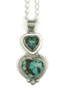 Royston Boulder Turquoise Heart Pendant by Lucy Valencia (PD3348)