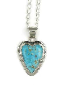 Kingman Turquoise Heart Pendant by Phillip Sanchez