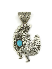 Sleeping Beauty Turquoise Eagle Dancer Pendant by Freddy Charley