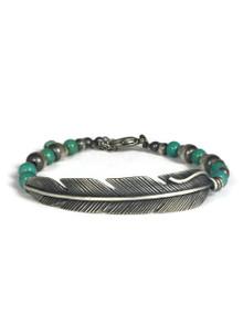 Silver Feather Turquoise Bead Bracelet by Raymond Coriz