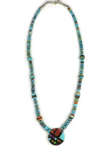 Mosaic Inlay Heishi Necklace by Ronald Chavez