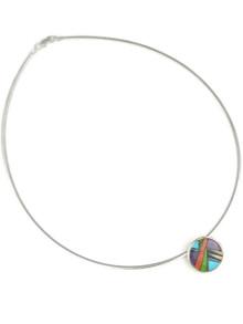 Multi Gemstone Inlay Pendant Omega Necklace
