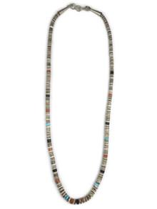 "Clam Shell & Gemstone Heishi Necklace 18 1/2"" (NK4468)"