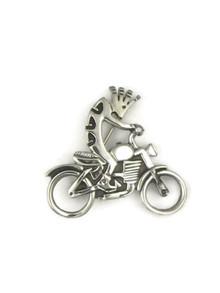Silver Kokopelli Motorcycle Pin