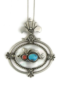 Mother of Pearl, Coral & Turquoise Pendant by Fritson Toledo