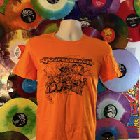 GOSPELBEACH - ORANGE T SHIRT with  BILL STOUT DESIGN  LAST ONES! -