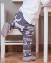 Gray Winter Moose Cotton Leggings
