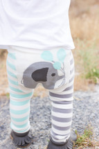 Blue Elephant Cotton Leggings