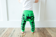 Green Tractor Cotton Leggings