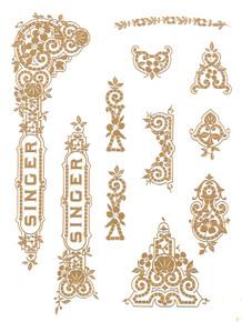Singer 15 Class Tiffany Style Gold Metallic Decals  SingerDecals.com