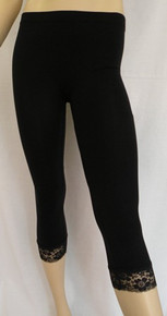 LV291 Black Lace Trim Leggings