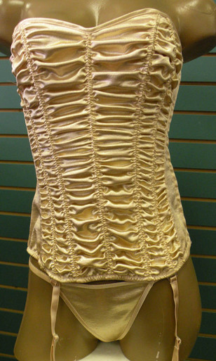 SH29047 Gold Corset Pebble Charmeuse by Shirley of Hollywood