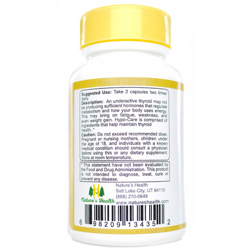 Hypo-Care Thyroid Supplement Suggested Use