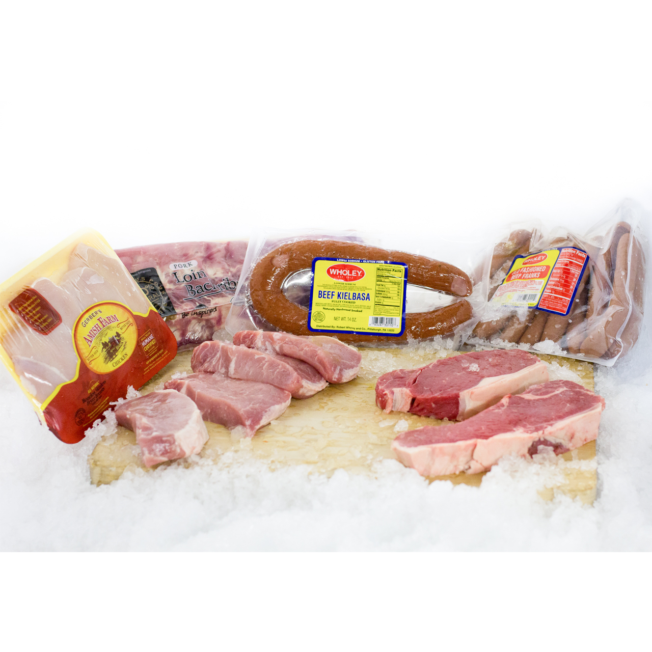 An assortment of both packaged and opened fresh meat products