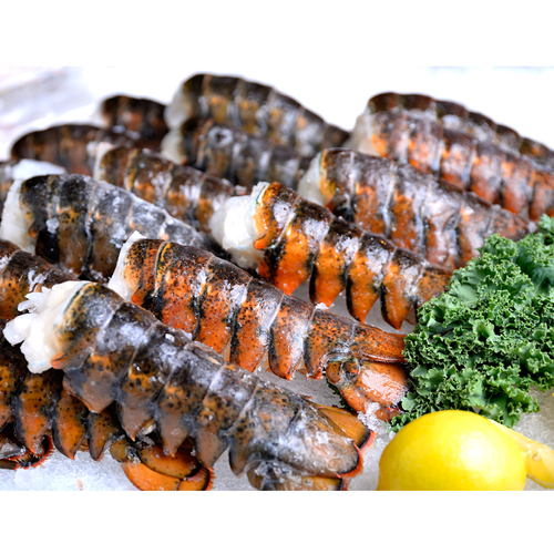 Lobster tails with garnishes