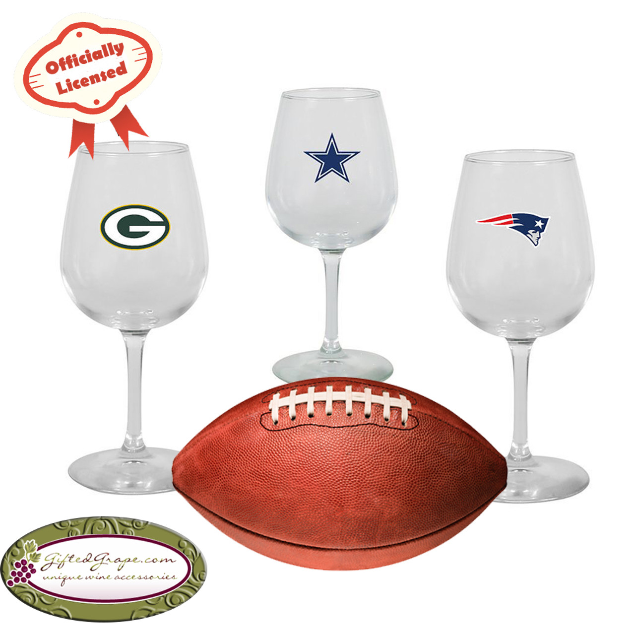 NFL Team Wine Glasses - Officially Licensed Wine Accessories