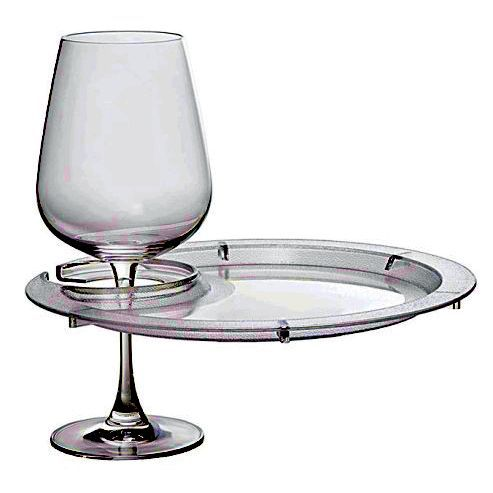 Acrylic Wine Glass Holder Plate Round with Custom Imprint