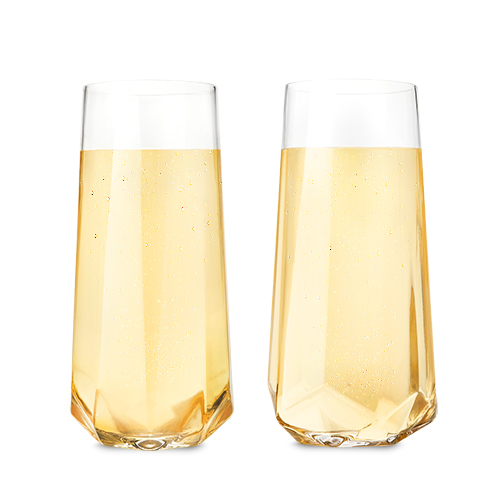 Crytal Faceted Champagne Flutes
