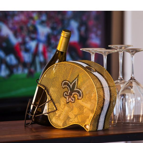 New Orleans Saints wine bottle and cork cage holder