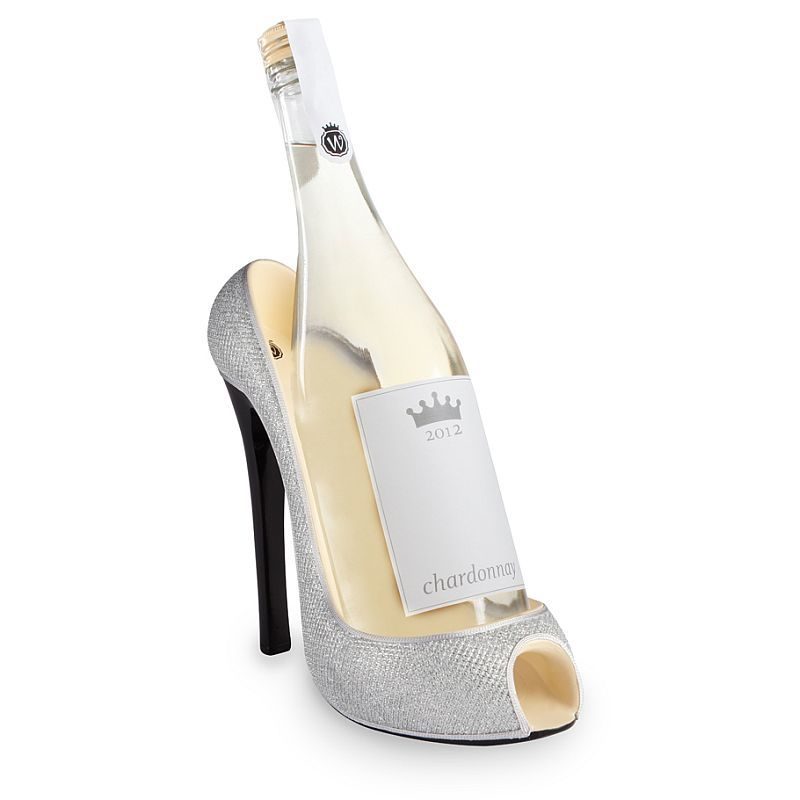 Silver glitter high heel wine bottle holder