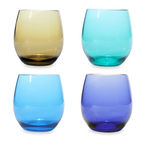 Stemless Acrylic Wine Glass Set in Jeweltone Colors