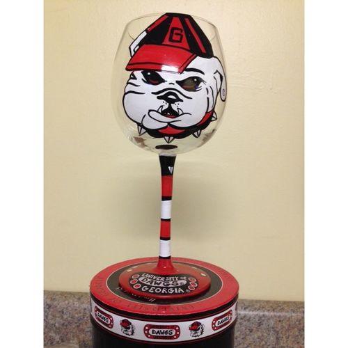University of Georgia Hand Painted Bulldog Wine Glass
