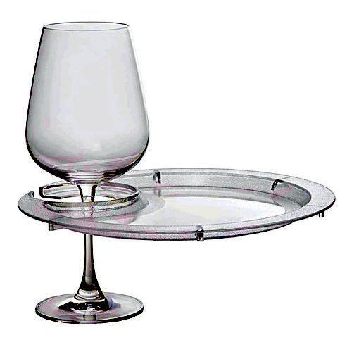 Acrylic Wine Glass Holder Plate Round with Custom Imprint