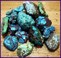 Many types of highgrade American Turquoise