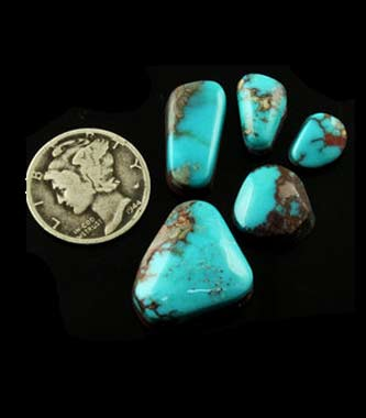 Blue Bird Turquoise cabochons from Nevada, USA