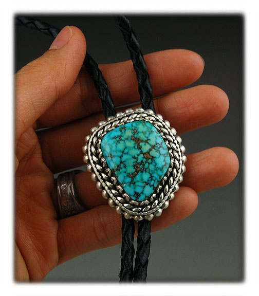Spiderweb Natural Kingman Turquoise from Arizona in a Sterling Silver bolo tie.