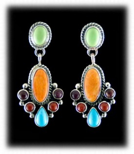 Handmade gemstone silver earrings