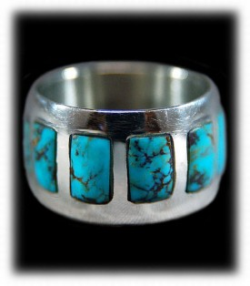 Sterling Silver ring with Bisbee Blue Turquoise
