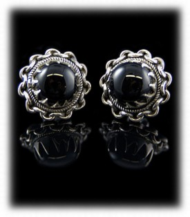 Handmade Black Onyx Silver Stud Earrings