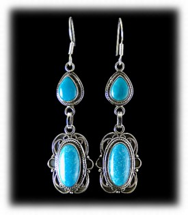 Silver Dangle Earrings with Kingman Turquoise