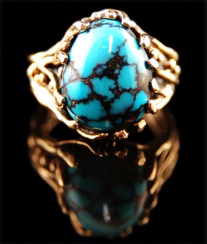 Blue Wind and gold Turquoise jewelry