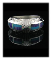 Multi Color Inlay Inlay Band Ring