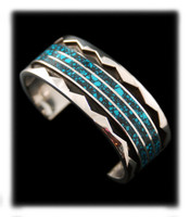Brawny Mens Inlay Turquoise Bracelet
